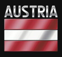 Austria - Austrian Flag & Text - Metallic by graphix