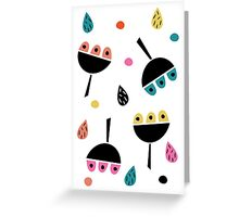Multicoloured retro flowers Greeting Card