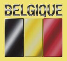 Belgique - Belgian Flag & Text - Metallic Kids Clothes