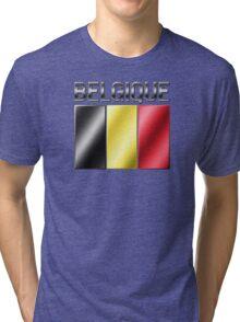 Belgique - Belgian Flag & Text - Metallic Tri-blend T-Shirt