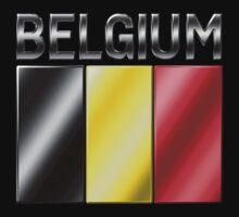Belgium - Belgian Flag & Text - Metallic T-Shirt