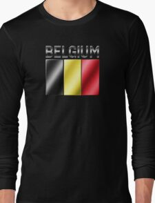 Belgium - Belgian Flag & Text - Metallic Long Sleeve T-Shirt