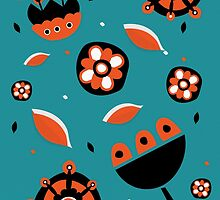 Retro turquoise and orange floral design by juliechicago