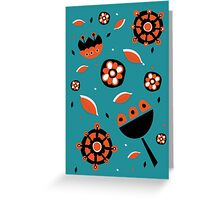 Retro turquoise and orange floral design Greeting Card
