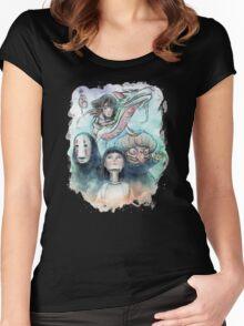 Spirited Away Miyazaki Tribute Watercolor Painting Women's Fitted Scoop T-Shirt