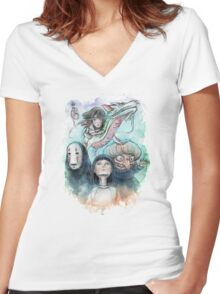 Spirited Away Miyazaki Tribute Watercolor Painting Women's Fitted V-Neck T-Shirt