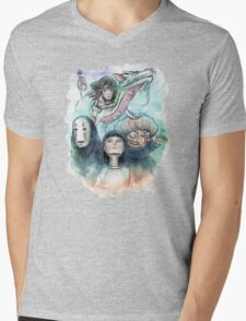 Spirited Away Miyazaki Tribute Watercolor Painting Mens V-Neck T-Shirt