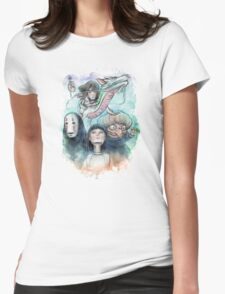 Spirited Away Miyazaki Tribute Watercolor Painting Womens Fitted T-Shirt