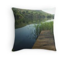 Lake reflections from the jetty, Drakensberg, South Africa Throw Pillow