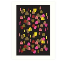 Retro domes in pink & yellow Art Print