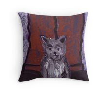 Small Dog Big Feet Throw Pillow