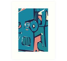 Pink and blue freestyle abstract Art Print