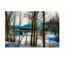 Winter Scene Bridge Art Print