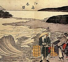 'Women on the Beach of Enoshima' by Katsushika Hokusai (Reproduction) by Roz Abellera Art Gallery