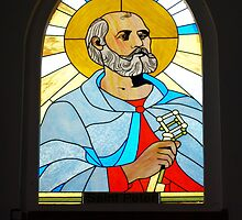 Leadlight Window of St Peter at Our Lady of Rosary Church, Sapa, Vietnam by Bev Pascoe