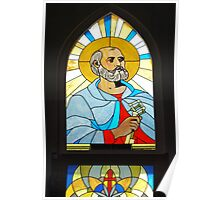 Leadlight Window of St Peter at Our Lady of Rosary Church, Sapa, Vietnam Poster