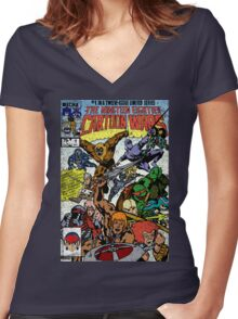 Cartoon Wars Women's Fitted V-Neck T-Shirt