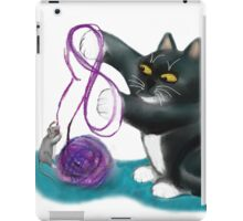 Mouse and Kitten Play with Purple Yarn iPad Case/Skin