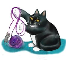 Mouse and Kitten Play with Purple Yarn by NineLivesStudio