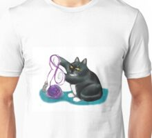 Mouse and Kitten Play with Purple Yarn Unisex T-Shirt