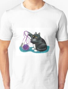 Mouse and Kitten Play with Purple Yarn T-Shirt