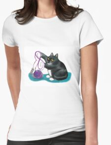 Mouse and Kitten Play with Purple Yarn Womens Fitted T-Shirt