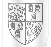A Complete Guide to Heraldry - Figure 45 — Arms of John, Lord Beaumont, KG (d 1396) From his Garter Plate 1 and 4, Beaumont; 2 and 3, azure, three garbs or (for Comyn) Poster