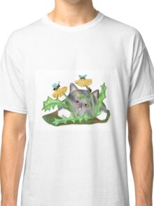Dandelion flower brings buzzing Bees that Tease Kitten Classic T-Shirt