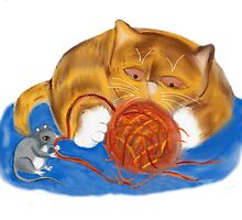 Mouse and Kitten with a Yarn Ball by NineLivesStudio