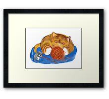 Mouse and Kitten with a Yarn Ball Framed Print