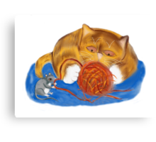 Mouse and Kitten with a Yarn Ball Canvas Print