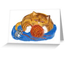 Mouse and Kitten with a Yarn Ball Greeting Card