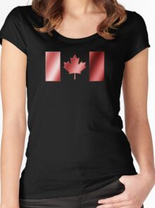 Canadian Flag - Canada - Metallic Women's Fitted Scoop T-Shirt