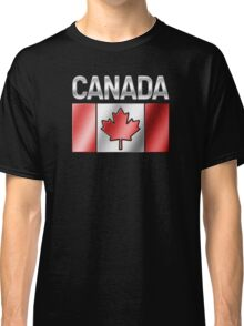 Canada - Canadian Flag & Text - Metallic Classic T-Shirt