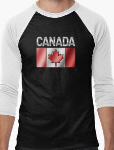 Canada - Canadian Flag & Text - Metallic Men's Baseball ¾ T-Shirt