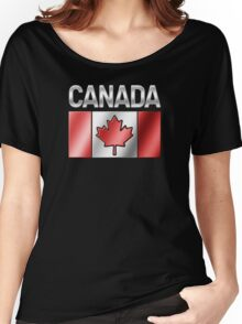 Canada - Canadian Flag & Text - Metallic Women's Relaxed Fit T-Shirt