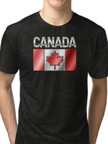 Canada - Canadian Flag & Text - Metallic Tri-blend T-Shirt