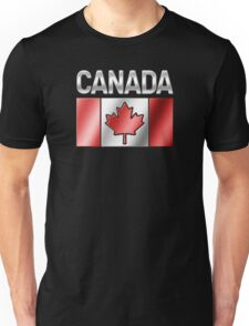 Canada - Canadian Flag & Text - Metallic Unisex T-Shirt