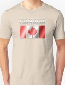 Canada - Canadian Flag & Text - Metallic Unisex T-Shirt