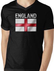 England - English Flag & Text - Metallic Mens V-Neck T-Shirt