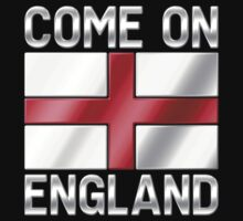 Come On England - English Flag & Text - Metallic T-Shirt