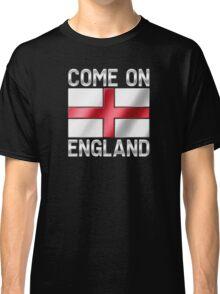 Come On England - English Flag & Text - Metallic Classic T-Shirt