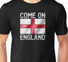 Come On England - English Flag & Text - Metallic Unisex T-Shirt