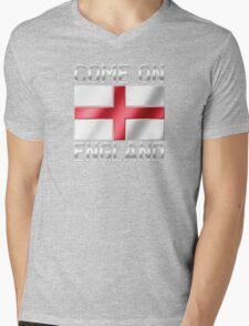 Come On England - English Flag & Text - Metallic T-Shirt