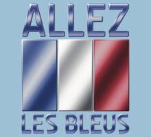Allez Les Bleus - French Flag & Text - Metallic Kids Clothes