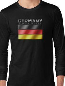 Germany - German Flag & Text - Metallic Long Sleeve T-Shirt