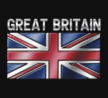 Great Britain - British Flag & Text - Metallic One Piece - Short Sleeve