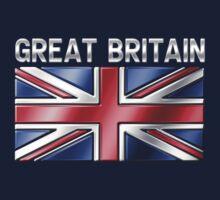 Great Britain - British Flag & Text - Metallic Kids Clothes