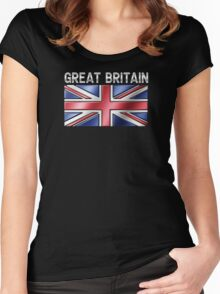 Great Britain - British Flag & Text - Metallic Women's Fitted Scoop T-Shirt
