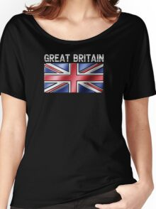 Great Britain - British Flag & Text - Metallic Women's Relaxed Fit T-Shirt